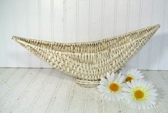 Vintage Winter White Wicker Crescent CenterPiece  by DivineOrders, $26.00