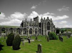 Melrose Abbey ruins.