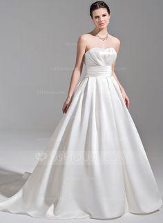 Ball-Gown Sweetheart Court Train Ruffle Zipper Up Strapless Sleeveless Church General Plus No Spring Fall Ivory Satin Wedding Dress