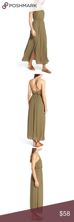 """Olive Shift Dress A flowy skirt with sky-high slits billows open to reveal chic shorts beneath, effortlessly merging the breeziness of a maxi dress with the wearability of a romper. 49 1/2 center front length; 25 1/2"""" romper underlayer center front length; 2"""" inseam; 27"""" leg opening (size Medium) Halter neckline Adjustable straps Partial romper lining 100% viscose Hand wash, line dry Lush Dresses Maxi"""