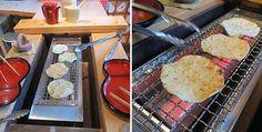 勝浦 朝市手焼き煎餅 自分の好きな形にして、自分で焼いて、出来立てを頂く体験型