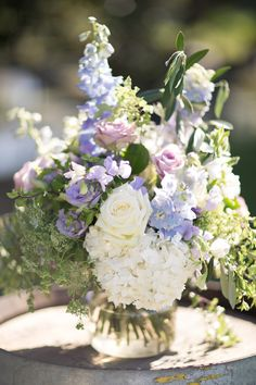 Lilac & Lavender Floral Wedding Centrepiece // Photography ~ White Images