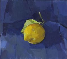 'Lemon on Blue' by English painter Alex Fowler (b.1975). Oil on canvas laid on board, 6 x 6.25 in. via the new english art club