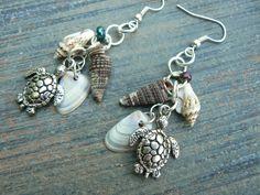 sea turtle and shell earrings sea turtle seashells earrings in beach mermaid boho gypsy hippie hipster beach and fantasy style