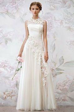 Marfim branco encantador especial alta pescoço chiffon flor de noivas vestidos de noiva/bola vestido de dama de honra do tamanho pers...