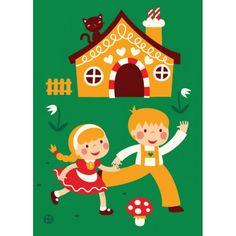 Love... poster per bambini della fiaba Hansel e Gretel disegnata dall'illustratrice olandese Bora.