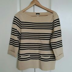"$40 sale J. crew • Striped Boatneck Sweater In like new condition.  Worn once. Two front pockets. Folded up sleeves.  80% Cotton 17% Nylon 3% Spandex  Loose fit. Flat measurements across: Length:  23.5"" Armpit-to-armpit:  19.5"" J. Crew Sweaters Crew & Scoop Necks"
