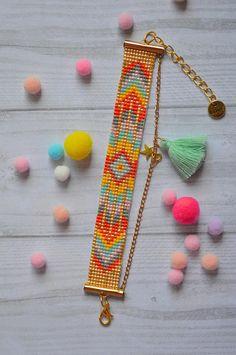 Bracelet Miyuki manchette souple ethnique pompon