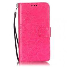 Huawei Y6 pinkki perhoset puhelinlompakko