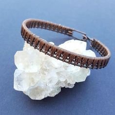 Handcrafted wire wrapped copper bracelet. These unique gifts are made to order just to your size. My bracelets feature a geometric, original design, handmade out of copper and lots of love! #wirewrap #wirewrapping #bracelet #jewelry