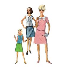 Vintage Sewing Pattern 60s Mod Dropped Waist Dress by HoneymoonBus