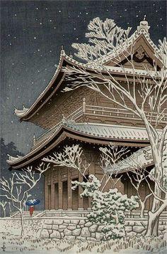 "nobrashfestivity: ""Takeji Asano, Snow at Chisin Temple, Kyoto """