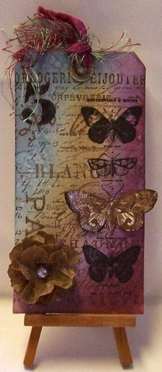 Papillon Tag with Kraft Glassine Flower - RUBBER ROAD ADVENTURES