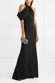 Draped silk-cady halterneck gown