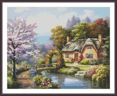 Cross Stitch Cottage #cottage #crossstitch #embroidery #needlepoint #needlework #house #garden #etsy #diy #chart