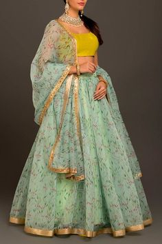 Discover recipes, home ideas, style inspiration and other ideas to try. Half Saree Lehenga, Floral Lehenga, Half Saree Designs, Lehenga Designs, Designer Anarkali Dresses, Long Skirt Outfits, Lehnga Dress, Party Wear Lehenga, Indian Gowns Dresses