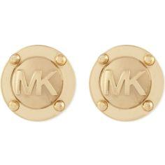 MICHAEL KORS JEWELLERY Logo stud earrings ($74) ❤ liked on Polyvore featuring jewelry, earrings, michael kors, accessories, gold, michael kors earrings, logo jewelry, logo earrings and stud earrings
