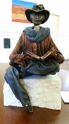 Reading man, made using powertex, stone art clay and fabrics