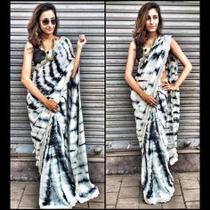black and white tie and dye saree with black silk blouse
