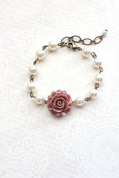 Bracelet rose vieux rose Rose Perle Bracelet Floral
