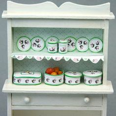 Free Dollhouse Kitchen Printables in Several Model Scales: Printable Dollhouse Kitchen Ware In the Christmas Rose Design