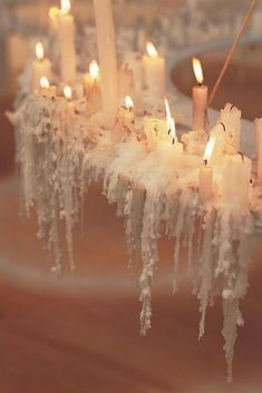 You could use wedding candles in your centerpiece arrangement, decorate tables and chairs. Wedding lighting will create intimate charm on Big Day. Candle Art, Candle Chandelier, Candle Gifts, Candle Stand, Romantic Shabby Chic, Romantic Homes, White Candles, Diy Candles, Luxury Candles