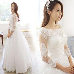 Barato Rendas de luxo Princess Bride ombro palavra vestido de noiva Qi 2015 nova primavera coreano de mangas compridas 7711 vestido de noiva 797, Compro Qualidade Vestidos de noiva diretamente de fornecedores da China: