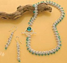 Summery project from chain-maille jewelry expert Charlene Anderson. Step-by-step instructions to make these embellished barrel weave necklace and earring set.
