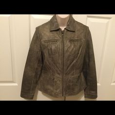 Alfani Small Petite Leather Jacket 100% leather jacket. Color is hard to describe - green w/metallic gold undertones. I wore it only once with camouflage pants and a gold cami. In excellent condition. Alfani Jackets & Coats