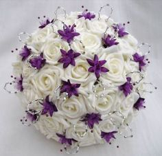 WEDDING FLOWERS - POSY BOUQUET IN IVORY, PURPLE, SILVER #Bouquet #ShopSimple