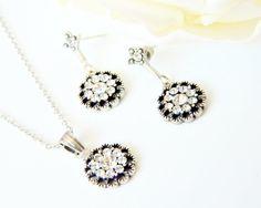 vintage style jewelry set art deco crystal swarovski rhinestone necklace dangle earrings wedding jewelry bridal jewelry bridesmaids gift on Etsy, 35,90$