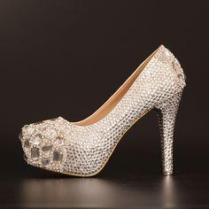 Chaussures crystal strass magnifique escarpin femme mariage discount au talon aiguille chaussure de mariée
