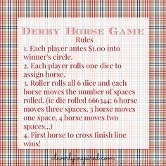 Smart image throughout kentucky derby games printable