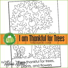 church coloring pages : I am Thankful for Trees, Plants and Flowers