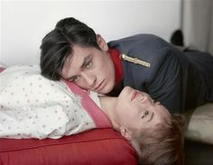 """Lévin Sam (1904-1992) Romy Schneider et Alain Delon (sur le tournage de """"Christine"""" film de Gaspard-Huit, 1958)"""