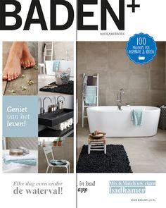 De Baden+ Lifestyle badkamer is de eyecatcher op de cover van het badkamerboek. Haal dit prachtige boek met 100 pagina's badkamerinspiratie op in de showroom bij u in de buurt.