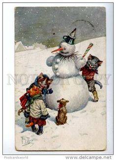 Dressed SNOWMAN KITTENS Puppy by THIELE Vintage TSN