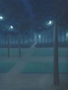 Nocturne au Parc Royal de Bruxelles (Night in the Royal Park of Brussels) by William Degouve de Nuncques Kandinsky, Nocturne, Monet, Pierre Marie, Carpeaux, Art Gallery Of Ontario, Catalogue Raisonne, Google Art Project, Blue Lantern