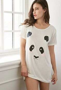 Forever 21 Panda Print Nightdress | Cream/Black | With a close-up print of a blushing panda bear face and a superbly soft knit fabrication, this nightdress will make you as cute and cuddly as the animal it features. Pair it with your favorite fuzzy slippers for a sweet and super-comfortable lounge look.
