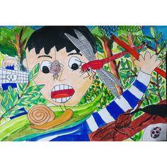 이미지: 사람 1명 Art Lessons For Kids, Art School, Diy For Kids, Education, Children, Drawings, Creative, Illustration, Crafts