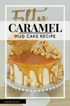 This caramel 'overload' mud cake recipe includes home-made caramel sauce, peanut brittle and caramel popcorn. Healthy Cake Recipes, Dessert Recipes, Baking Recipes, Desserts, White Chocolate Buttercream, Caramel Buttercream, Caramel Mud Cake, Caramel Cakes, Cake Business