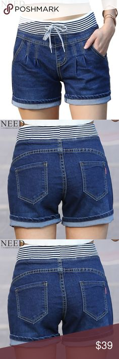 2017 Casual Jeans Shorts 2017 Casual High Waist Shorts Women High Waisted Denim Shorts Elastic Waist Jeans Shorts Plus Size Shorts Jean Shorts