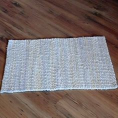 Twined Rag Rug in Pale Cream made from by SnowmanCollector on Etsy