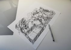 GreenStone Garden - Landscape project on Behance - beautifully detailed isometric view of a 7500m2 garden  #Sketching #Landscaping