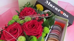 Flower Box with macrones, roses, santini Flower Boxes, Fresh Flowers, Macarons, Roses, Food, Window Boxes, Pink, Planter Boxes, Rose