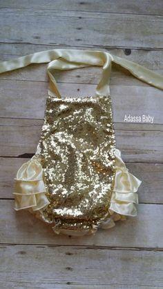 Baby Girl Romper Gold And Ivory Romper Baby Girl Gold Romper Ruffle Bottom Girl First Birthday Outfit Baby Girl Outfit Gold And Cream Romper by AdassaBaby on Etsy