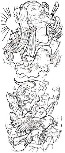 good / evil conflict tattoo sleeve idea photo by ronnie hicks