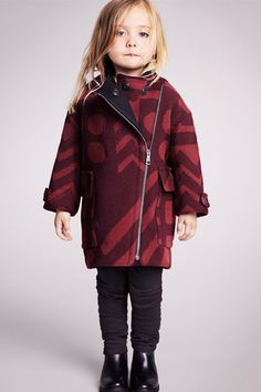 Bundle her up in Burberry outerwear for kids.