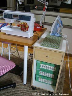 Marta y sus labores ...: Acerico en la máquina.... sewing room presser station with coasters