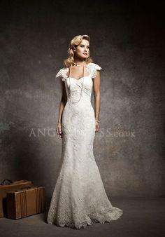 Lace Queen Anne Mermaid Natural Waist Floor Length Short Sleeve Wedding Dress